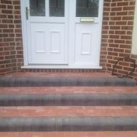 Red Grey Brick Door Steps